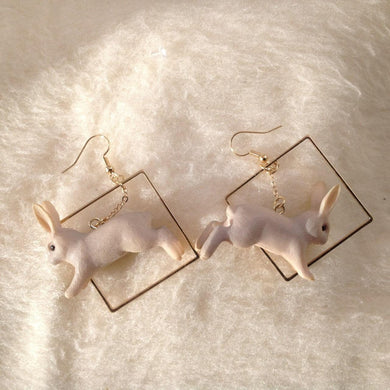 Leaping Bunny Rabbit Geometric Earrings