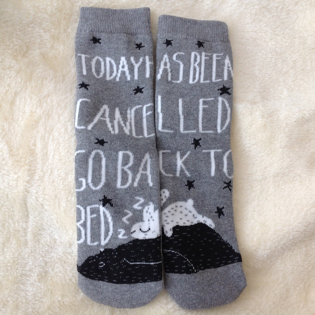 Bunny Rabbit Back To Bed Thick & Warm Socks