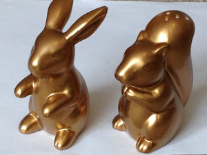Gold Bunny & Squirrel Salt & Pepper Pots