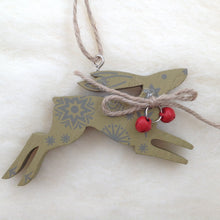 Wooden Hare Christmas Tree Decorations - Set of 3