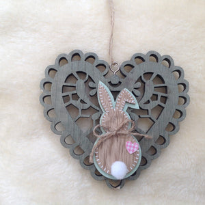 Wooden Heart Bunny Rabbit Plaque