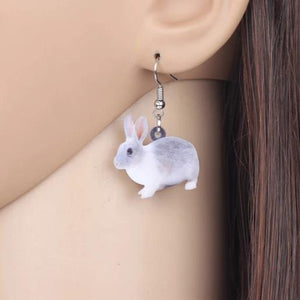 Grey & White Bunny Acrylic Bunny Rabbit Earrings