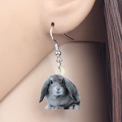 Grey Lop Eared Rabbit Acrylic Earrings