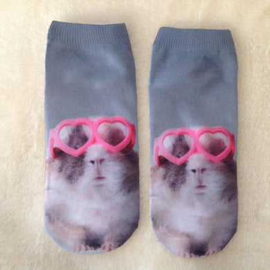 Guinea Pig With Heart Glasses Ladies Socks