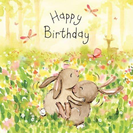 Happy Birthday Playing Bunny Rabbits Card