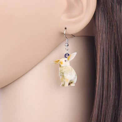 Harlequin Bunny Acrylic Bunny Rabbit Earrings