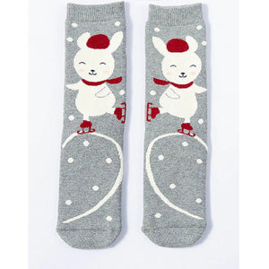 Ice Skating Bunny Rabbit Thick Warm Socks