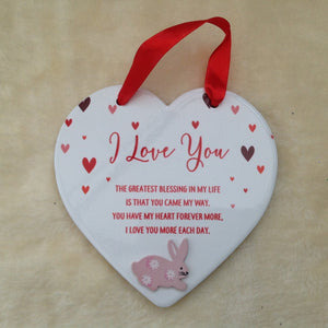 I Love You Ceramic Heart Bunny Rabbits Plaque