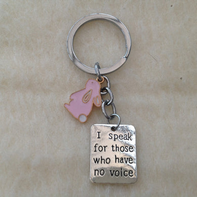 I Speak For Those Who Have No Voice Rabbit Keyring
