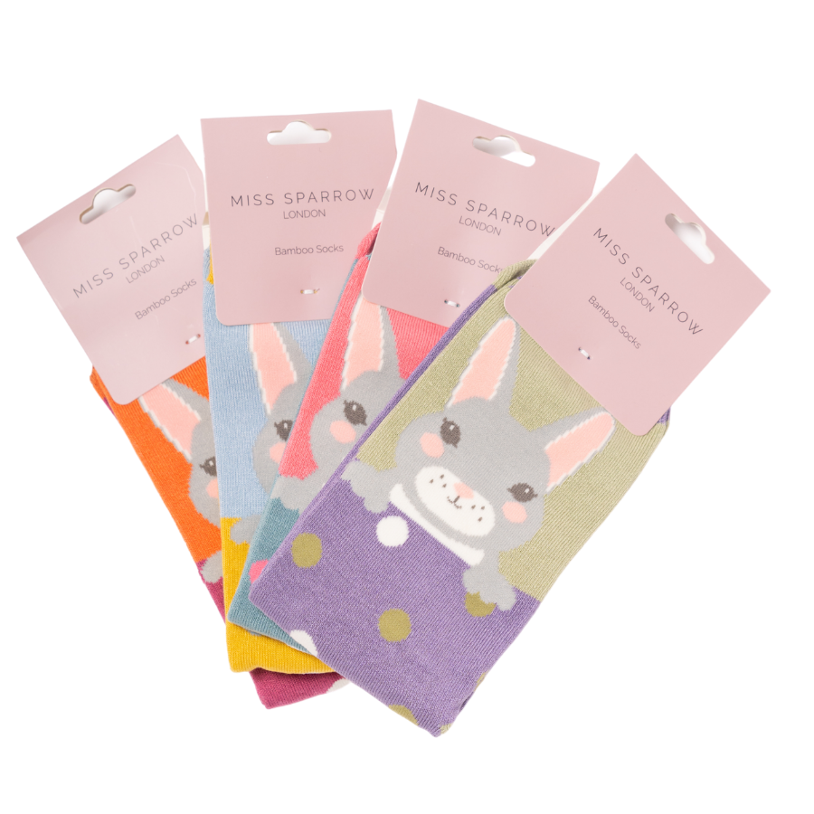 Four Pairs of Ladies Luxury Bamboo Bunny Rabbits Socks- Special Price