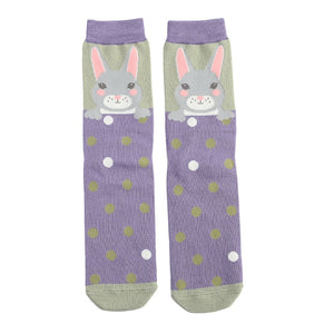 Purple & Green Ladies Luxury Bamboo Bunny Rabbits Socks