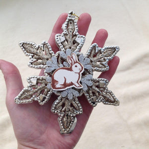 Large Bunny Snowflake Christmas Tree Decoration