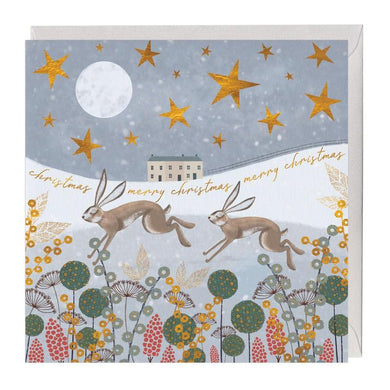 Leaping Hares Merry Christmas Card