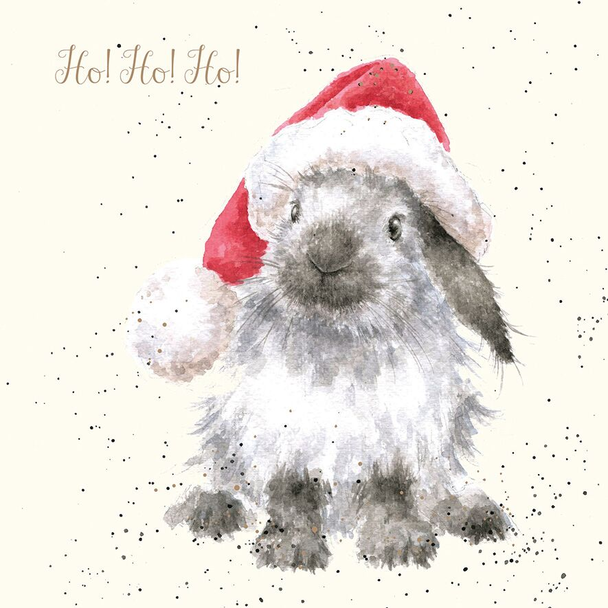 wrendale designs ho ho ho lop bunny christmas card