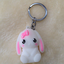 Cute White Lop Bunny Rabbit Keyring