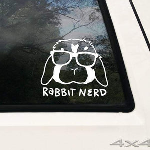 Large Bunny rabbit Nerd Vinyl Decals for Car and Windows