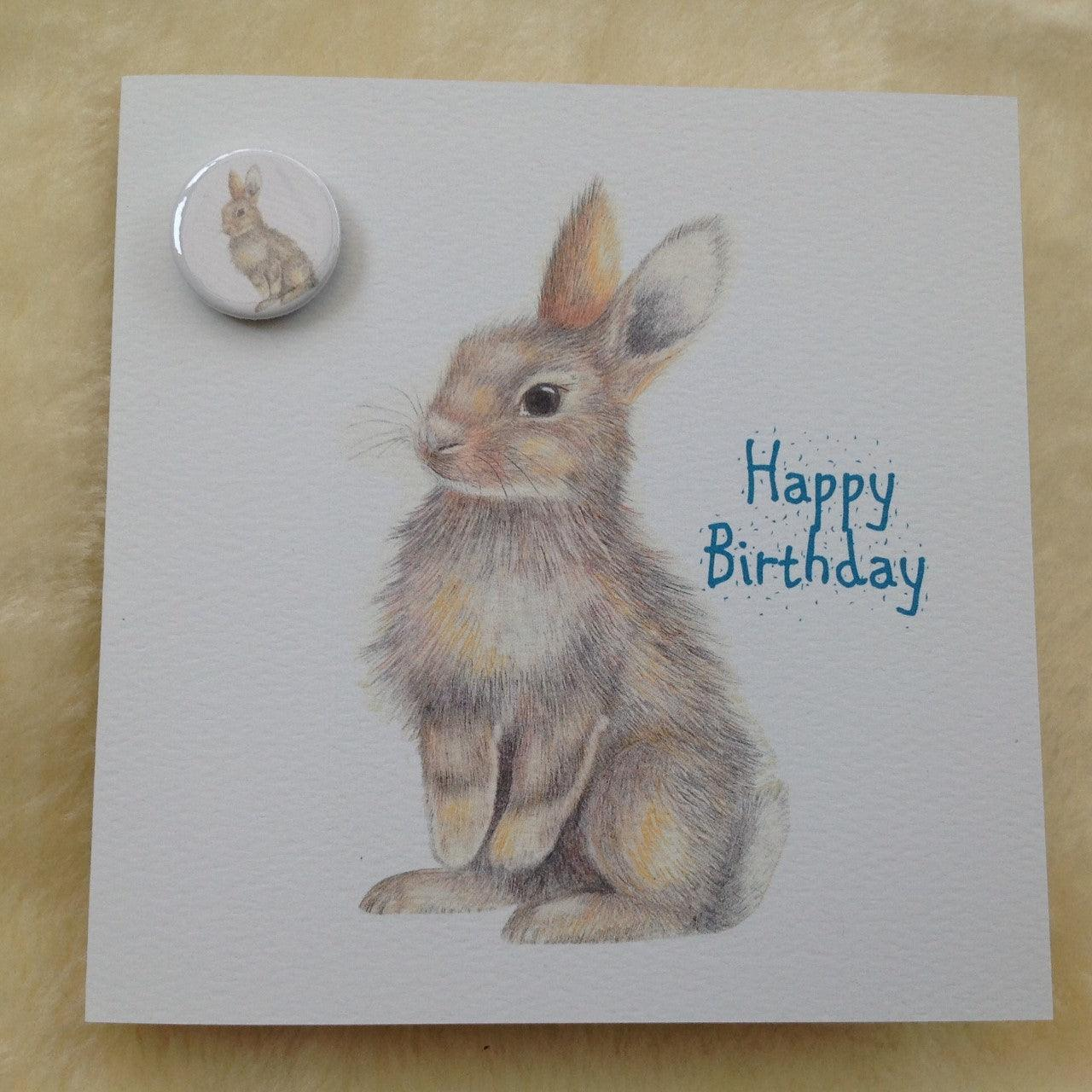 Bunny Rabbit Happy Birthday Card With Badge