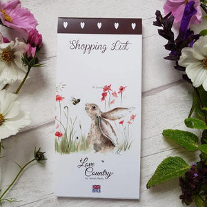 Love Country Bee Lovely Rabbit Hare Magnetic Shopping List