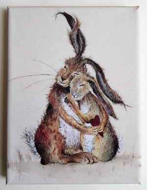 Hares My Heart Mini rabbit Canvas