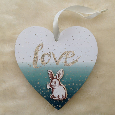 Green Love Bunny Wooden Plaque - Last One!