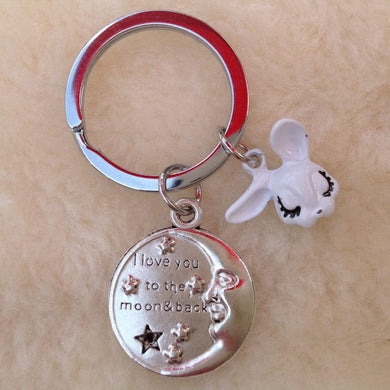 I Love You To The Moon And Back  Rabbit Keyring