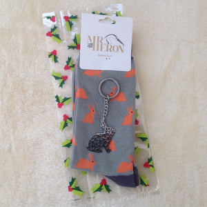 Men's Christmas Bunny Rabbit  Sock & Keyring Gift Set