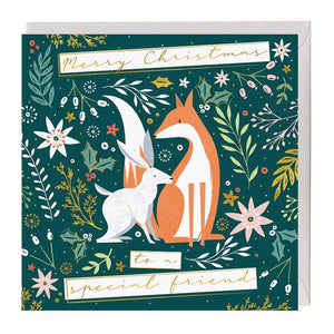 Special Friend Fox & Hare Christmas Card