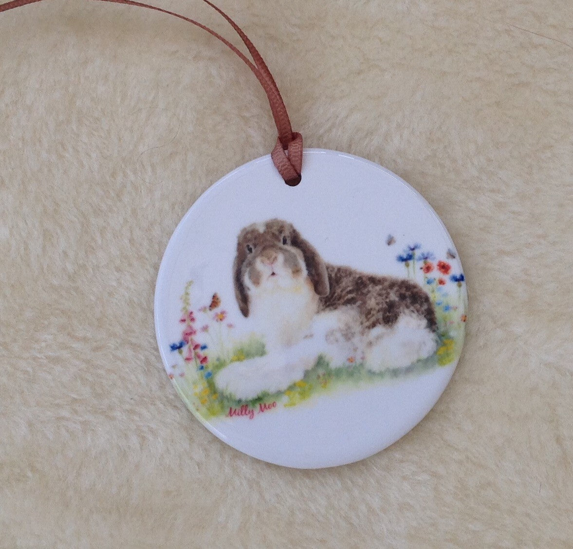 Milly Moo Bunny Rabbit Ceramic Hanging Decoration