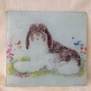 Milly Moo Bunny Rabbit Glass Worktop Table Saver