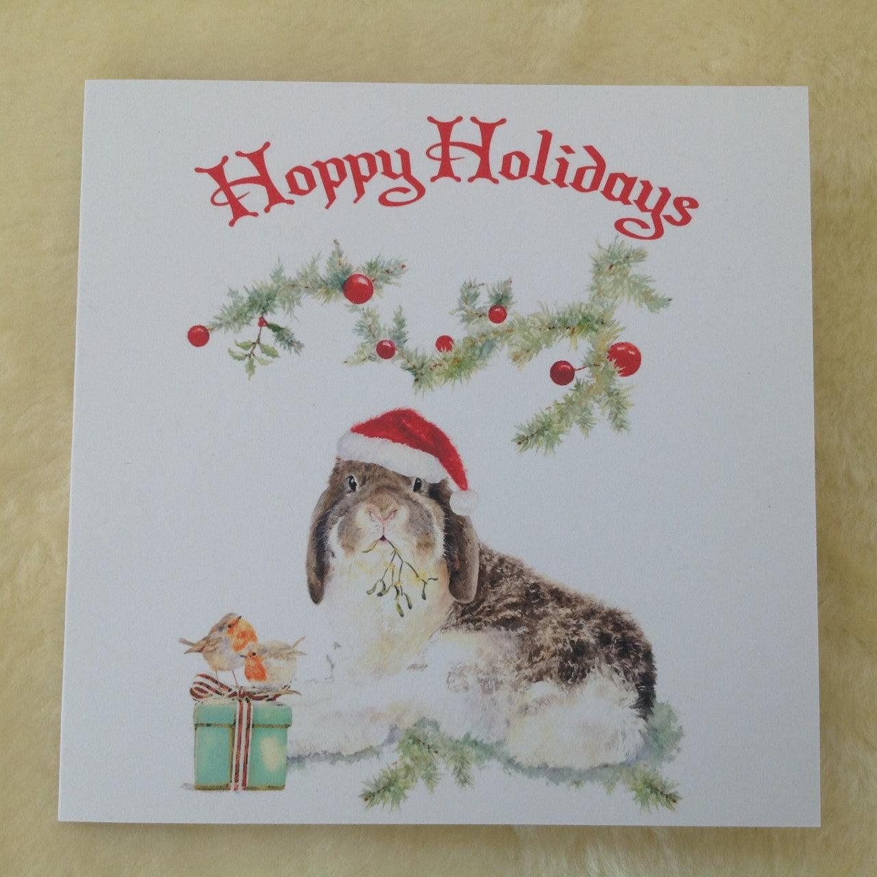 Milly Moo Bunny Rabbit Hoppy Holidays Christmas Greeting Card