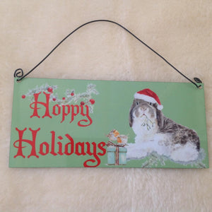 Milly Moo Hoppy Holidays Christmas Rabbit Metal Sign