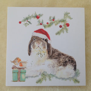Milly Moo Bunny Rabbit Christmas Greeting Card