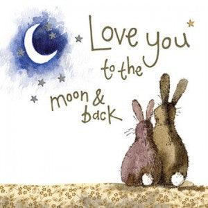 Alex Clark Moon & Back Rabbit Sparkle Card