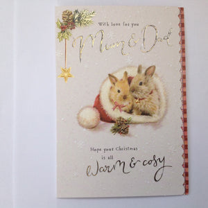 Mum & Dad Rabbits Christmas Card