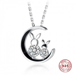 Sterling Silver Bunny Rabbit Mother & Daughter Moon Necklace