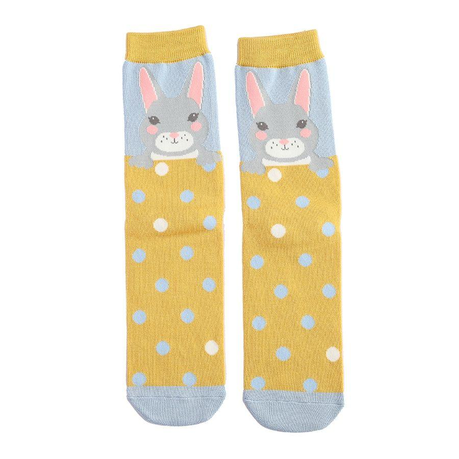 Mustard & Blue Ladies Luxury Bamboo Bunny Rabbits Socks