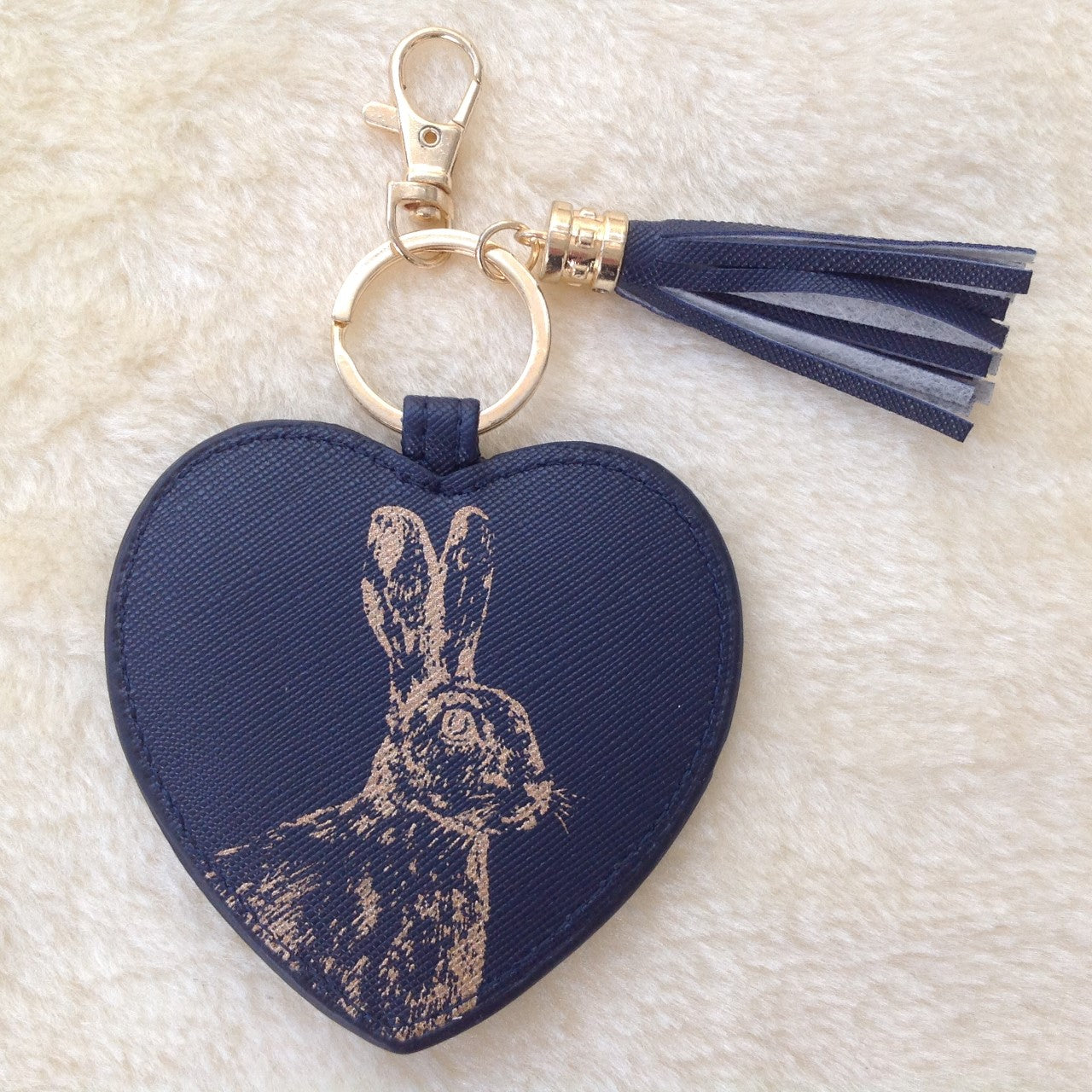 Navy Vegan Faux Leather Hare Keyring