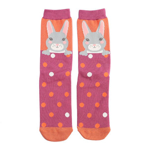 Orange Ladies Luxury Bamboo Bunny Rabbits Socks