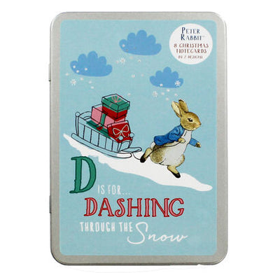 Peter Rabbit Dashing Through The Snow Christmas Cards & Tin