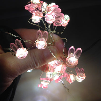 Mini Pink Bunny Rabbit Shaped LED Lights
