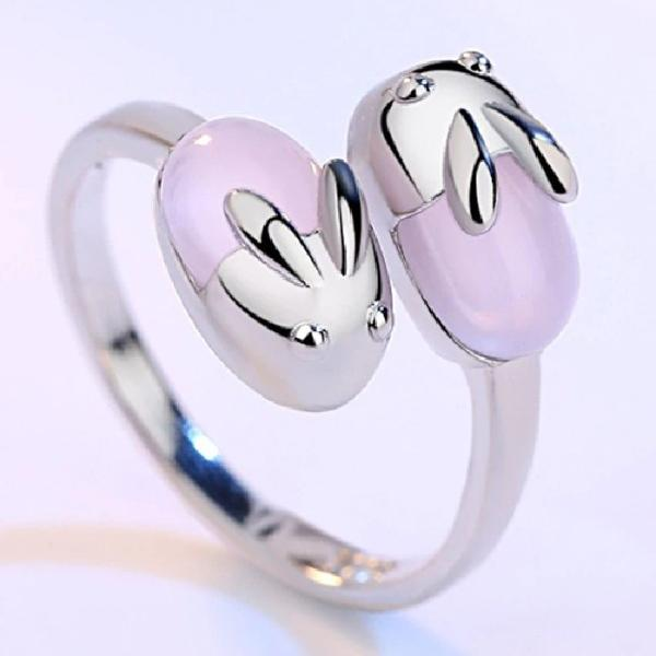 Adjustable Pretty Silver Bunny Ring