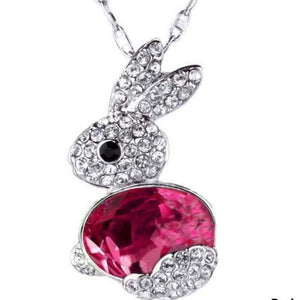 Pink Crystal Bunny Necklace
