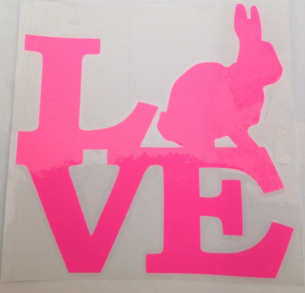 Love Bunny Window Decals for Home or Car