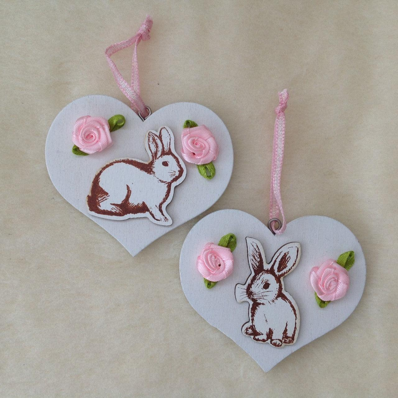 Pink Rose Bunny Rabbit Wooden Heart Decorations