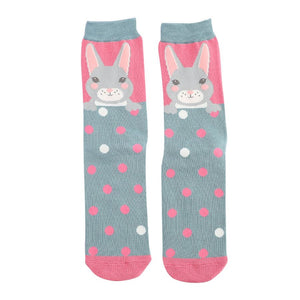 Pink & Blue Ladies Luxury Bamboo Bunny Rabbits Socks- SPECIAL OFFER