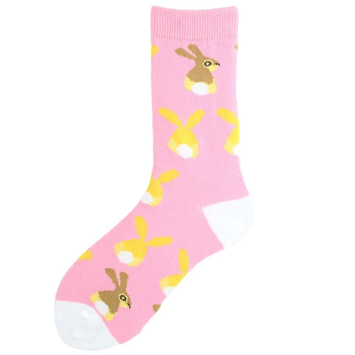 Pink & Yellow Ladies Bunny Rabbit Socks