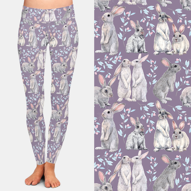 Purple Ladies Bunny Rabbit High Waist Leggings