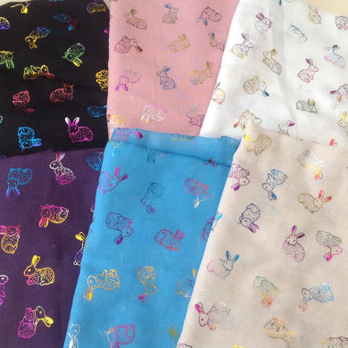 Exclusive Rainbow  Shimmer Rabbit Ladies Scarf - 5 Colours