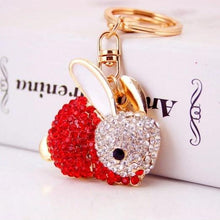 red Pretty Crystal Bunny Rabbit Keyring