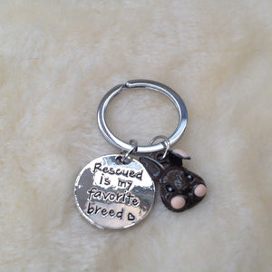 Rescued Is My Favourite Breed Rabbit Keyring